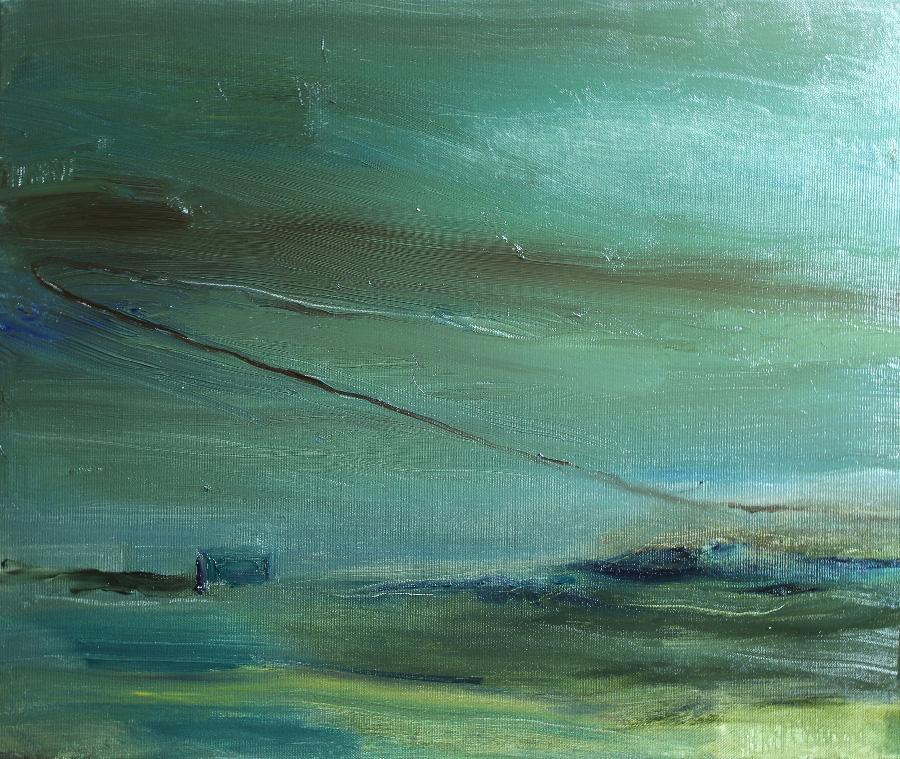 Vihreä ilta, öljy kankaalle, 40 x 55cm