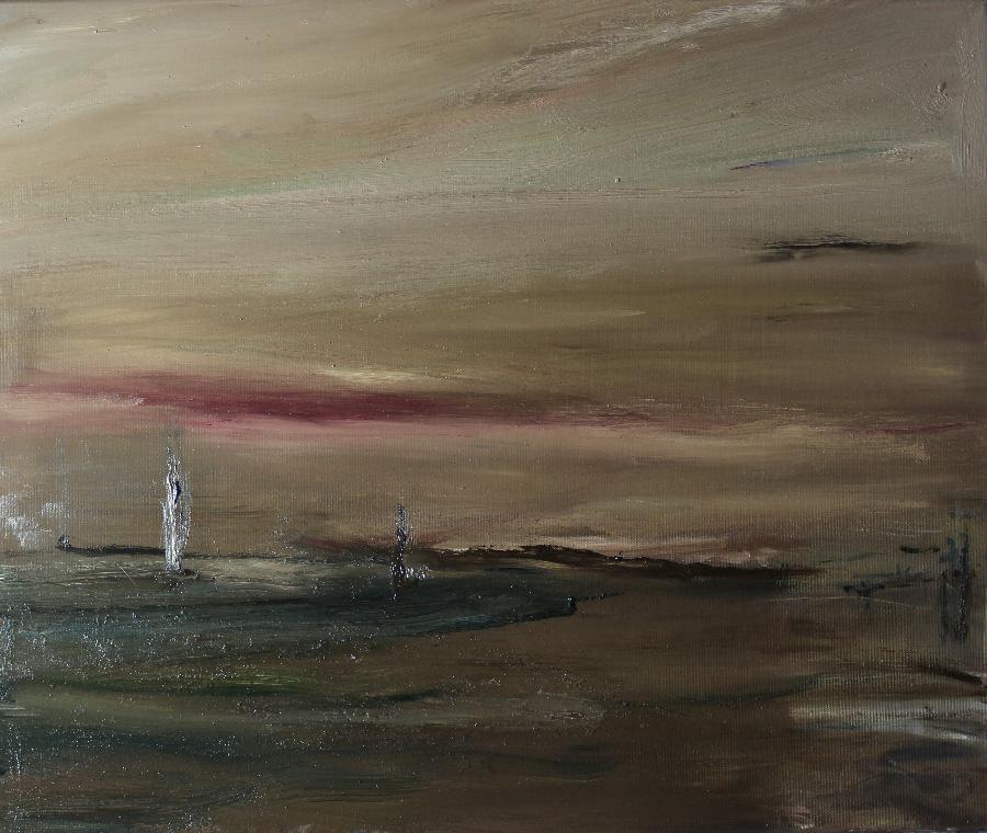 Ruskea ilta, öljy kankaalle, 40 x 55cm