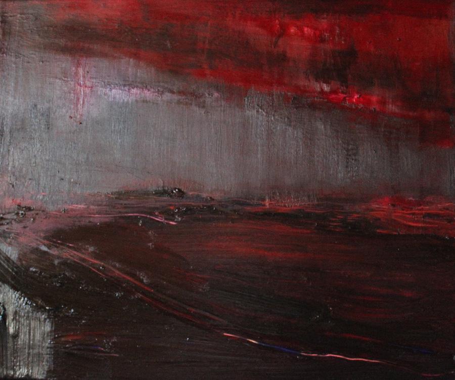 Punainen yö, öljy kankaalle, 40 x 55cm