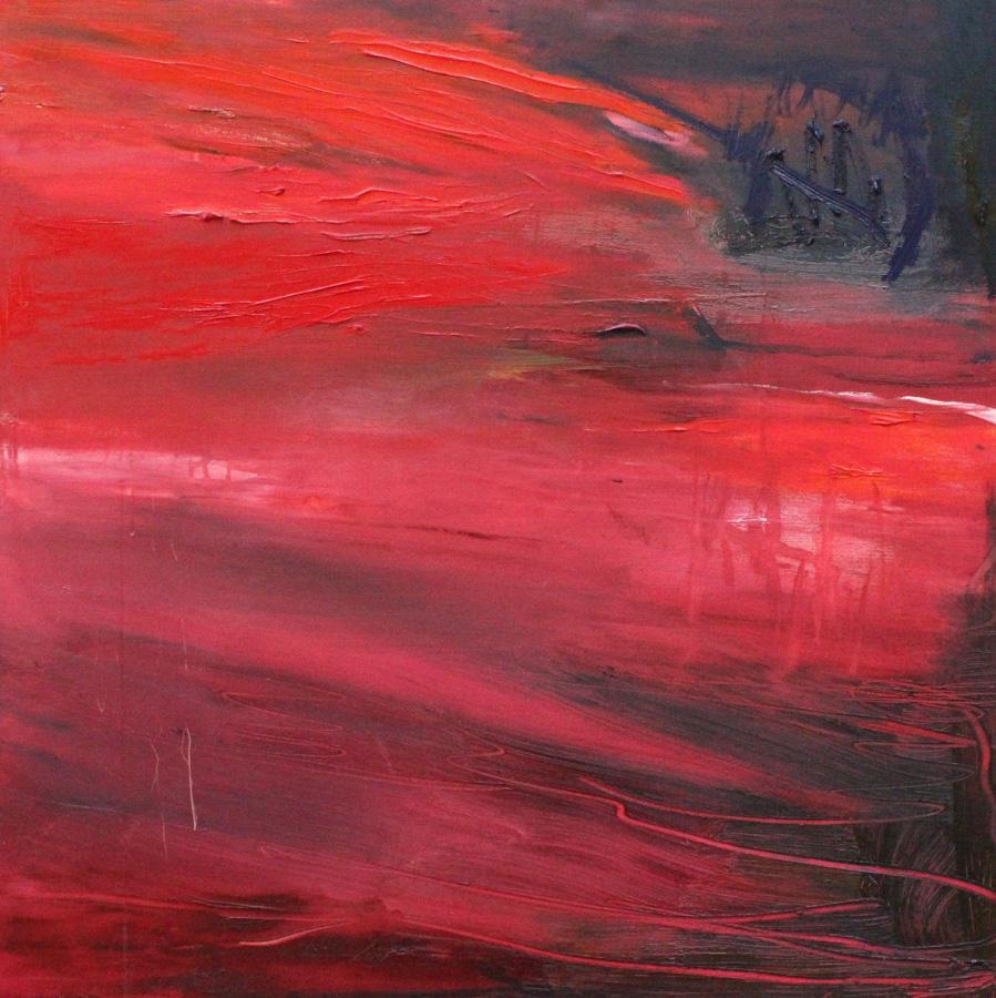 Punatuuli, öljy kankaalle, 100 x 100cm