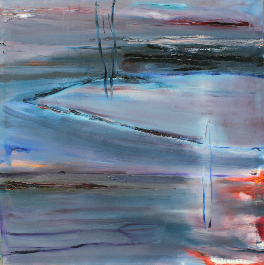 Illalla, öljy kankaalle, 100 x 100cm