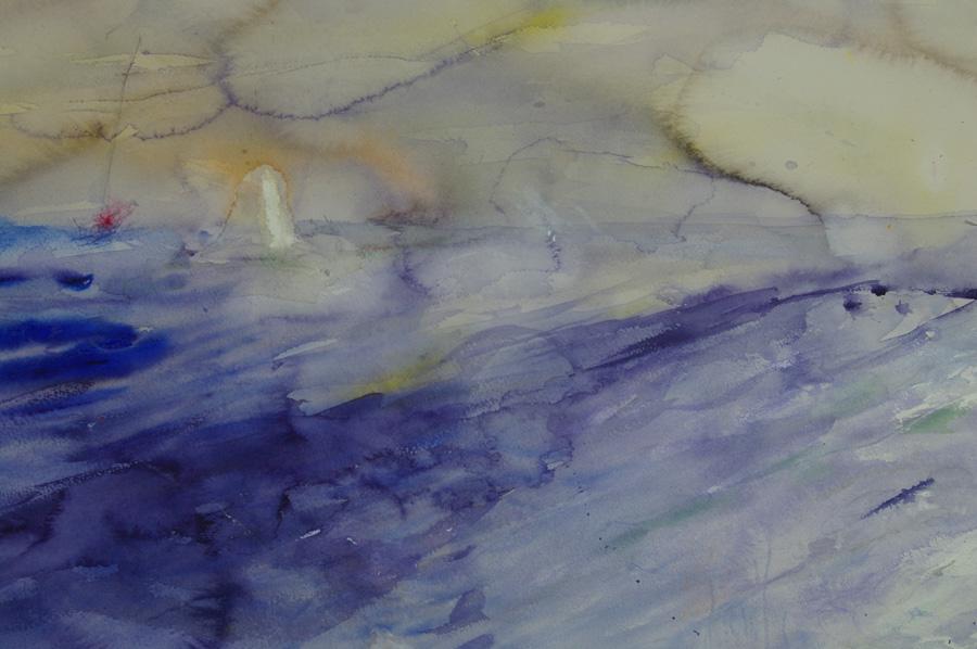 Tuulee, akvarelli ja öljyväri, 80 x100cm