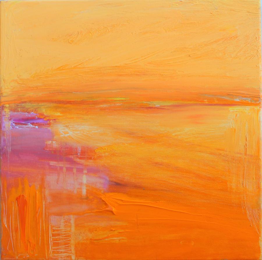 Oranssi ilta, öljy kankaalle, 40 x 40cm