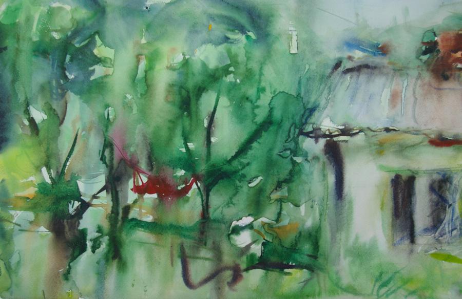 Kotipihassa, akvarelli, 50 x 75cm