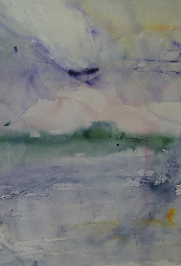 Tuulee 2, akvarelli, 40 x 75cm