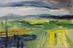 Keltainen pelto, öljy kankaalle, 2017, 70 x 55cm